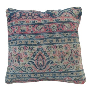Vintage Pink and Blue Turkish Kilim Pillow Cover For Sale