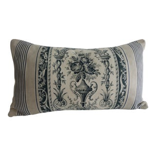 19th Century French Toile De Jouy & Ticking Pillow