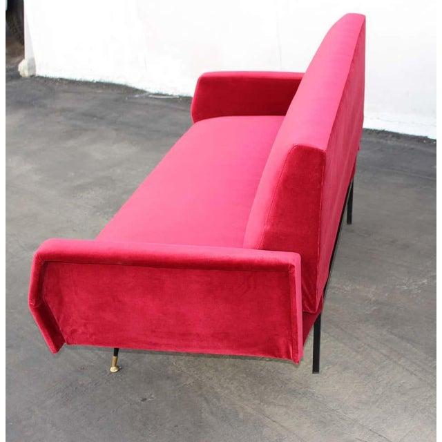 Mid-Century Modern Italian Red Velvet Sofa For Sale - Image 3 of 7