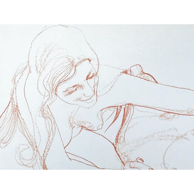 Vintage Bohemian Sanguine Drawing of Nude Couple For Sale - Image 4 of 8