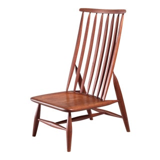 Handcrafted and Sculptural Wooden High Back Chair For Sale