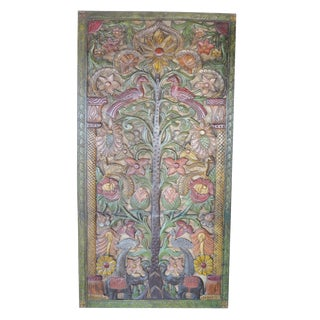 "Indian Kalpavriksha ""Tree of Dreams"" Wish Fulfilling Tree Hand Carved Teak Door Panel For Sale"