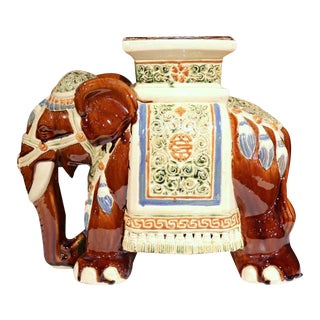 Mid-20th Century French Hand-Painted Faience Elephant Garden Seat