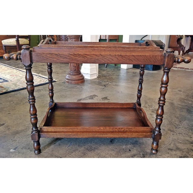 19c British Provincial Oak Butlers Tray Stand With 3 Trays For Sale - Image 4 of 13