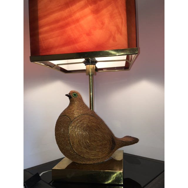 Italian AMAZING ITALIAN MODERNIST CERAMIC PARTRIDGE WITH TORTOISE SHELL LUCITE SHADE For Sale - Image 3 of 8