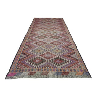 Vintage Turkish Kilim Embroidered Rug Diamond Designed For Sale