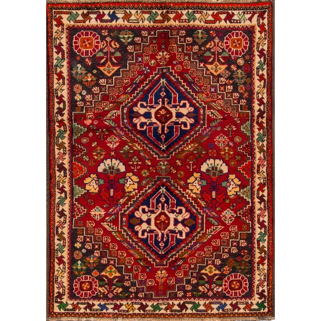 """Mid-20th Century Vintage Persian Shiraz Rug, 3'6"""" X 5' For Sale"""