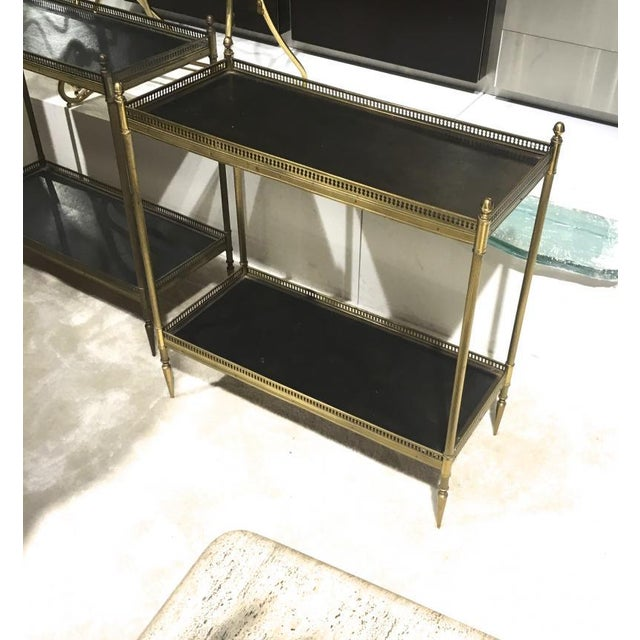 Animal Skin Maison Jansen 1940s Pair of Two-Tier Side Table With Black Leather Patinated Top For Sale - Image 7 of 8