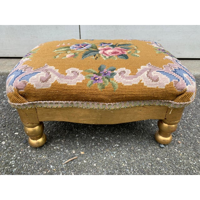 Vintage Needlepoint Footstool For Sale - Image 12 of 13