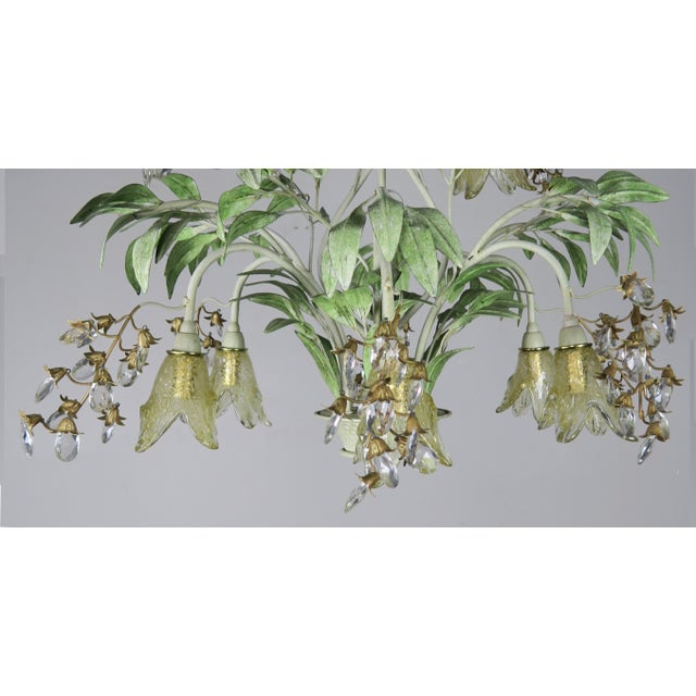 Murano Painted Tole and Murano Glass Chandelier C. 1940's For Sale - Image 4 of 10