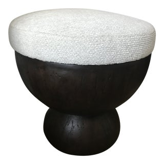 Bernhardt Round Wooden Upholstered Chenille Accent Stools For Sale