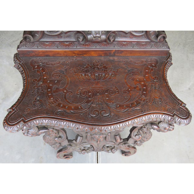 Italian 19th C. Horner Style Figural Carved Bench - Image 4 of 9