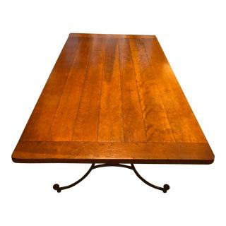 Portico Home Solid Wood Plank & Wrought Iron Dining Table For Sale