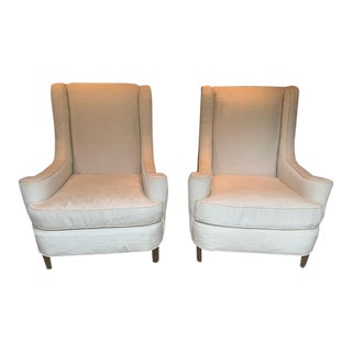Custom Made High Back Club Chairs - a Pair For Sale