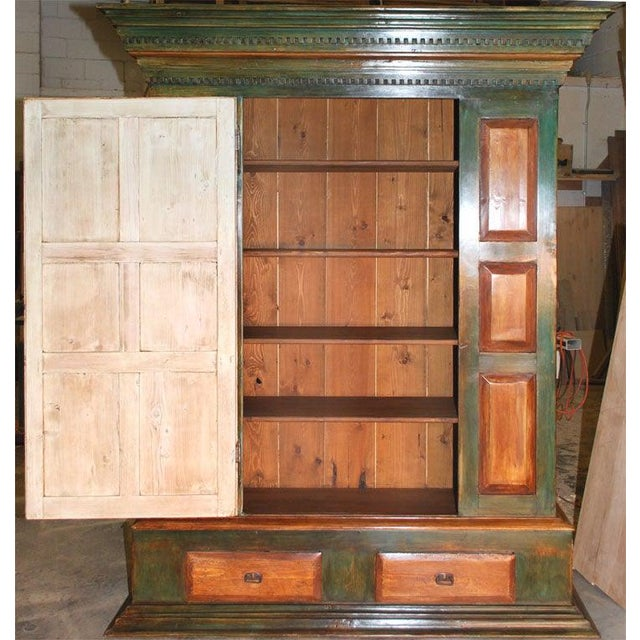 Large Green and Red Painted Armoire For Sale - Image 4 of 10
