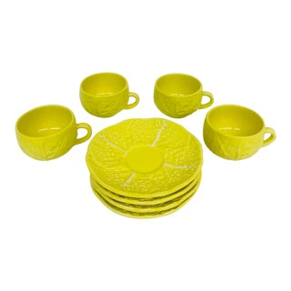 Yellow Lettuce Mug & Saucer Set - Set of 8
