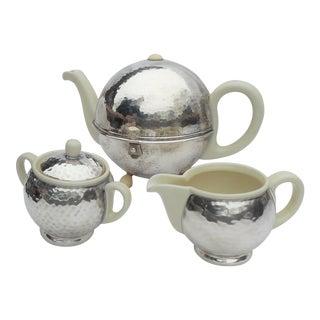 Art Deco Bauhaus Tea Pot, Cream Jug & Sugar - Set of 3