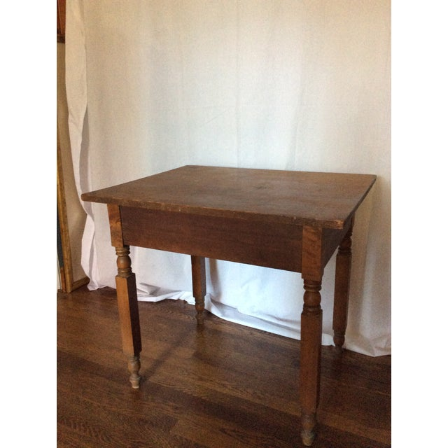 Primitive American Pine Table With Drawer For Sale - Image 12 of 13