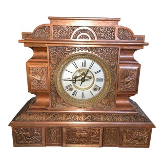 Late 19th Century Aesthetic Style Mantel Clock With Copper Plating For Sale