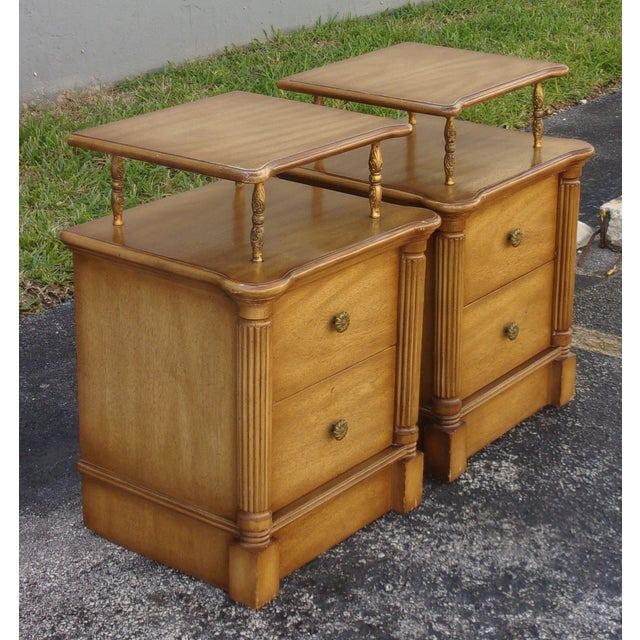 Vintage 2-Drawer Regency Style Nightstands - Pair - Image 2 of 10