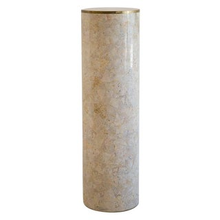 Rare Tessellated Stone Pedestal With Brass Banding