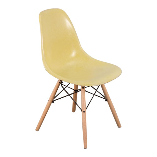 Canary Yellow Eames Shell Chair on Maple Dowel Base for Herman Miller For Sale
