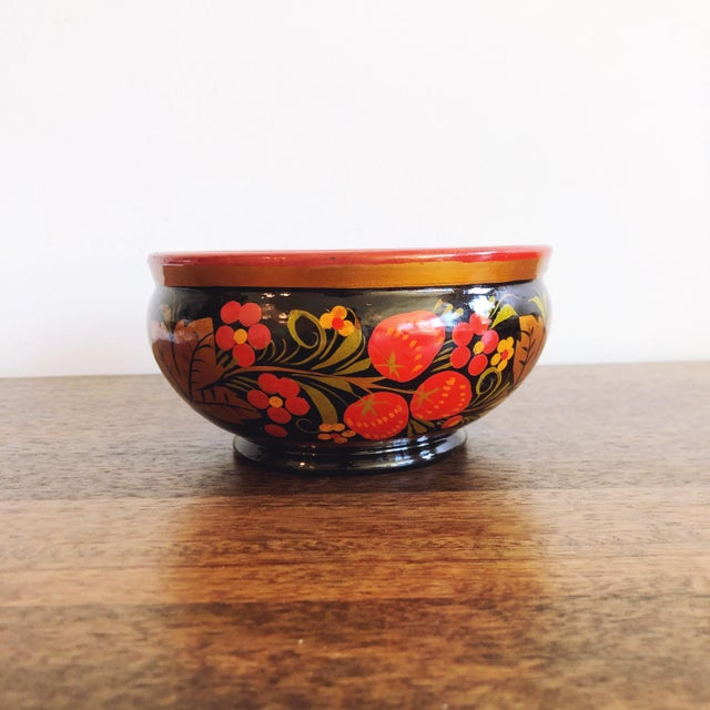 Red Russian Lacquerware Painted Bowl For Sale - Image 8 of 8