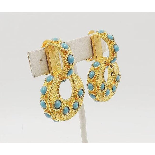 1960s Mimi DI N Cabochon Faux-Turquoise Hoop Earrings For Sale - Image 5 of 8