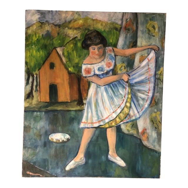 Original Mid Century Modernist Painting Dancer Signed For Sale