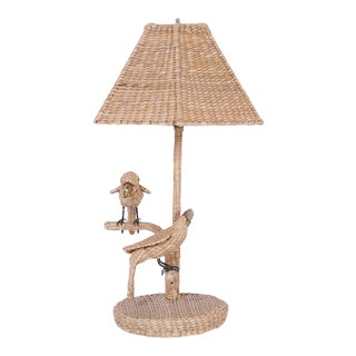 Mario Torres Wicker Parrot and Toucan Bird Table Lamp For Sale