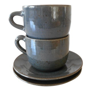 Potters Mug & Saucer Set - Set of 4 For Sale