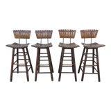 Image of 1960s Arthur Umanoff Style Slat Seat Bar Stools - Set of 4 For Sale