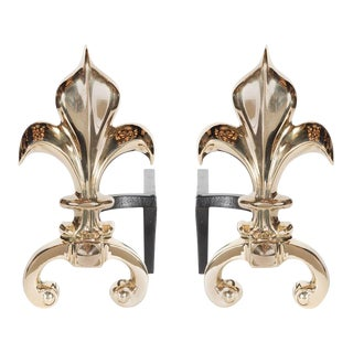 Pair of Custom Fleur-de-Lis Andirons in Polished Brass For Sale