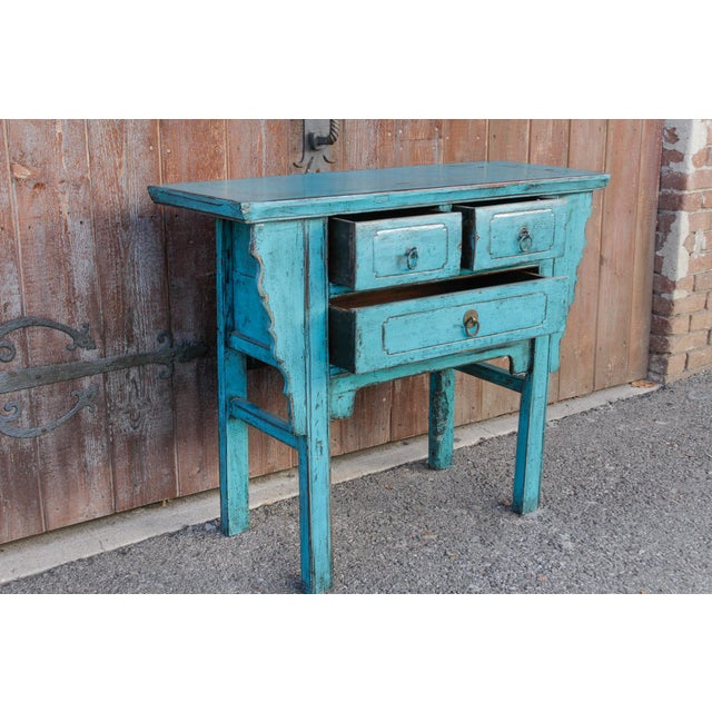 Asian Beautiful Chinese Turquoise Altar Dresser For Sale - Image 3 of 9