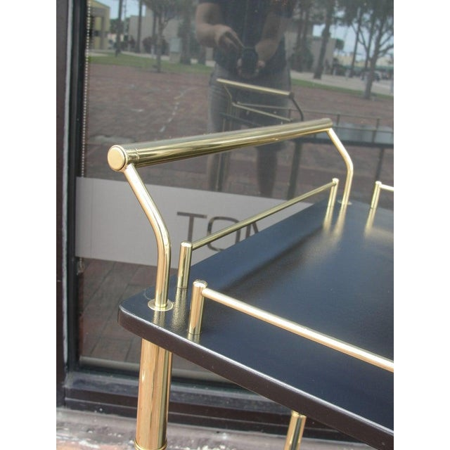 Mid-Century Modern Faux Bamboo Bar Cart For Sale - Image 3 of 5