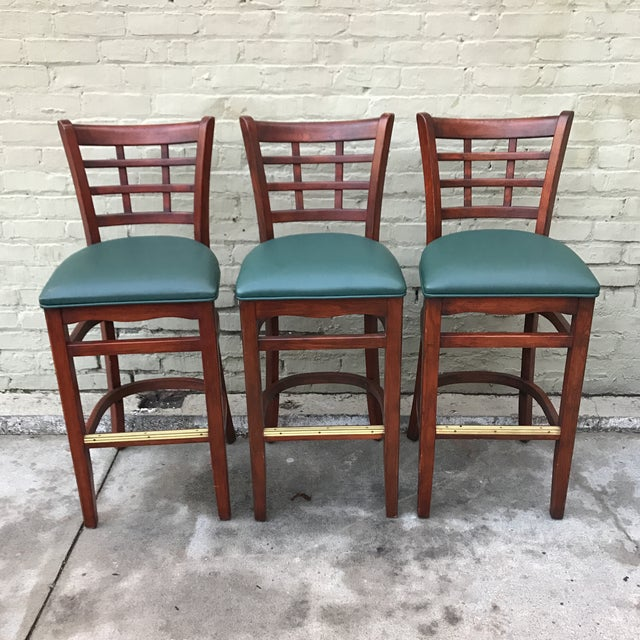 Mahogany Upholstered Barstools - Set of 3 - Image 2 of 3