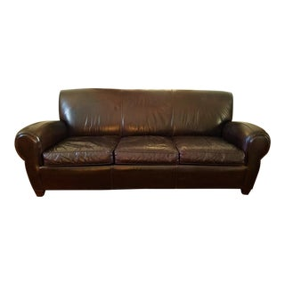 Modern Pottery Barn Manhattan Style Coffee Leather Sofa For Sale