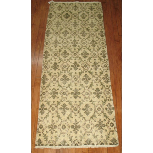 Vintage Turkish Narrow Runner with an all over geometric motif.
