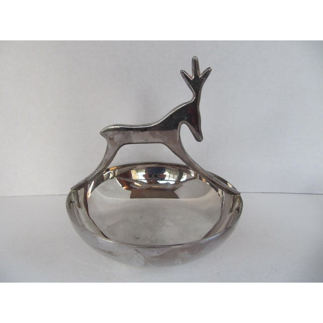 Silver-Plate Reindeer Bowl For Sale - Image 5 of 6
