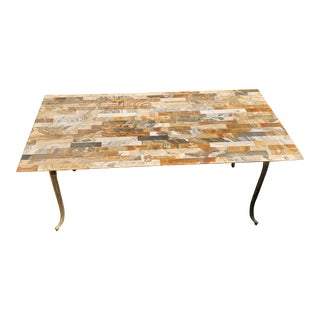Onyx and Brass Coffee Table For Sale
