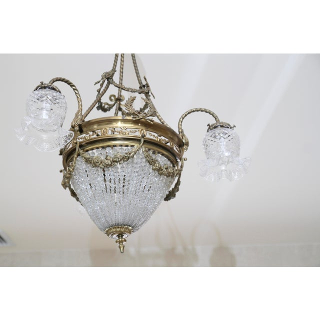 Brass French 19th Century Empire Style Half Circular Crystal & Bronze Chandelier For Sale - Image 7 of 11