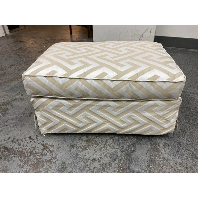 Design Plus Gallery presents a Lee Industries Custom Embossed Silk Ottoman. Pattern is a large scale Greek Key of ivory...