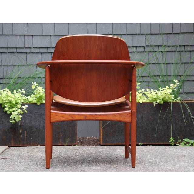1960s 1960s Mid-Century Modern Arne Hovmand Olsen Teak Back Chair For Sale - Image 5 of 13