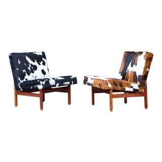 Milo Baughman for Thayer Coggin Walnut Slipper Chairs - a Pair For Sale