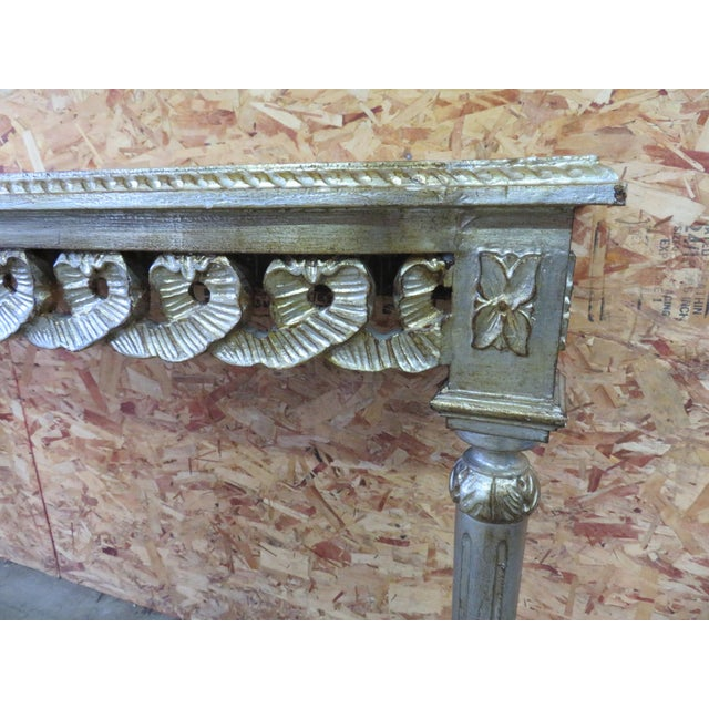 Italian Florentine Silver Gilt Console Table For Sale - Image 3 of 5