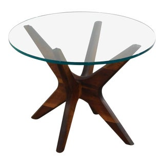 "Adrian Pearsall Craft Associates Mid Century Modern Walnut Glass Top ""Jax"" Side Table For Sale"
