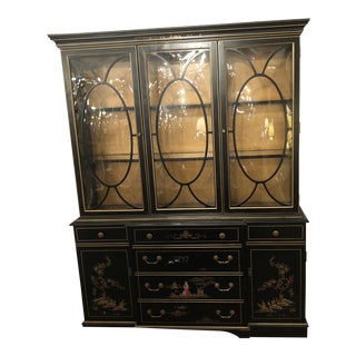 1970s Chinoiserie Bubble Glass Lighted Cabinet For Sale