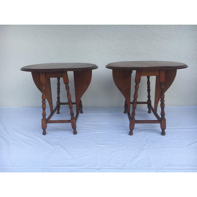 Small Miniature Drop Leaf Side Tables- a Pair Early 20th Century Vintage For Sale - Image 13 of 13
