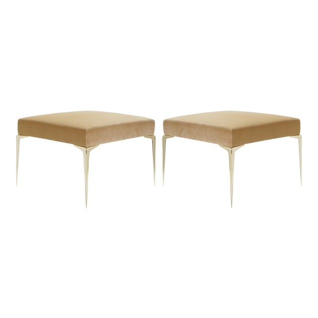Colette Brass Ottomans in Camel Velvet by Montage, Pair For Sale