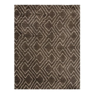 Stark Traditional Moroccan Brown Wool Rug - 6' × 9′